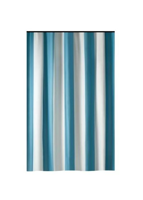 Extra Long Shower Curtain 72 X 78 Inch Gamma Aqua Blue And White Stripes Fabric