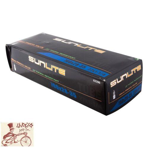 SUNLITE THORN RESISTANT 700 x 28-35 27x1-1//8x1-48mm PRESTA VALVE BICYCLE TUBE