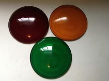 Set of 3 Vintage Red Green Orange Glass LENSES Old Signal LIGHT Traffic Lantern