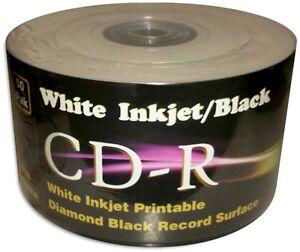 100 pak white inkjet printable diamond black record surface 52x cd