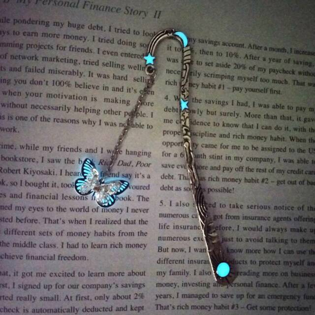 DIY Luminous Bookmark Creative Glow In The Dark Butterfly Bookmark Book Marker v