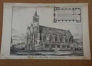 Antique-Architects-Print-New-Church-West-Ham-Building-News-1885