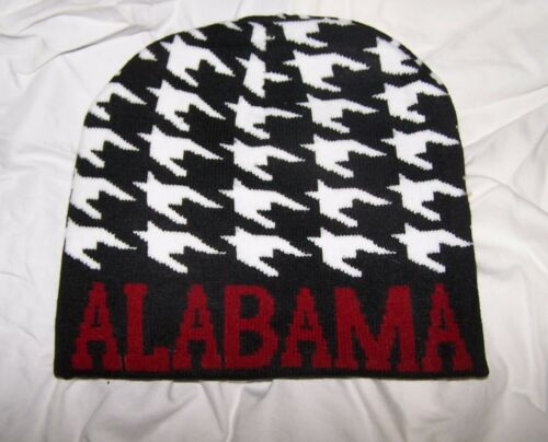 ALABAMA CRIMSON TIDE Black White Houndstooth Boggan Ski Cap Sweater Beanie Hat