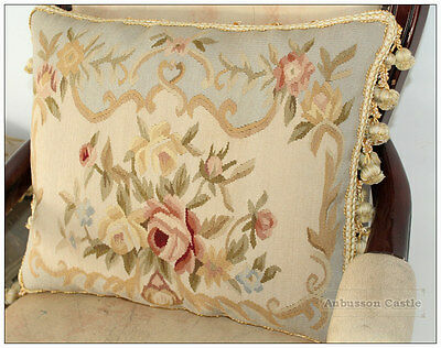 Shabby French Chic Aubusson Cottage Pillow BLUE CREAM Wool Cushion Cover 18x14