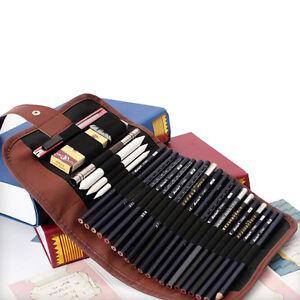 24X-Set-Sketch-Pencils-Case-Charcoal-Extender-Pencil-Shade-Cutter-Drawing-Bag