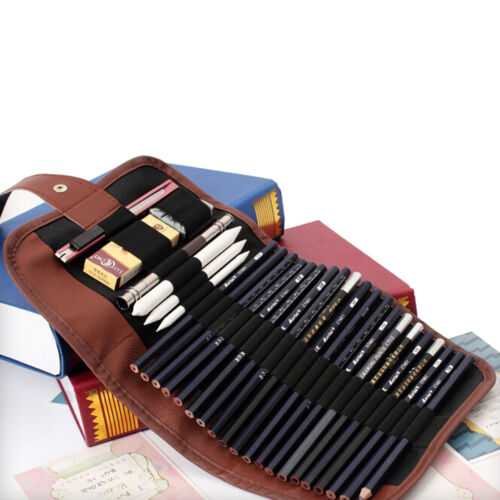 24x Set Sketch Crayons Case Charcoal Extender crayon ombre Cutter Dessin Sac $ M