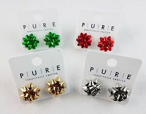 Details About Gift Bow Earrings Small Silver Red Or Green