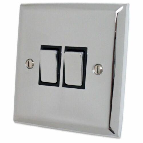 G/&H SC302 Spectrum Plate Polished Chrome 2 Gang 1 or 2 Way Rocker Light Switch