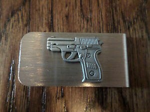 U.S 9 MM AUTOMATIC PISTOL METAL MONEY CLIP U.S.A MADE NEW IN BAGS