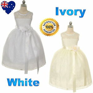 b2cb8b9a1871 Lace White or Ivory Flower Girl Dress Communion Confirmation Girls ...