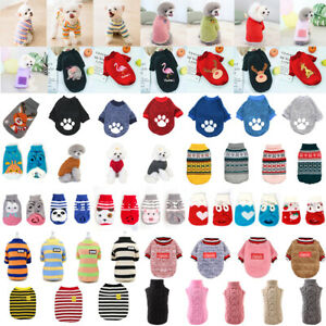 Winter Knitted Puppy Dog Jumper Sweater Pet Clothes Small Dogs Cat Coat XS-3XL