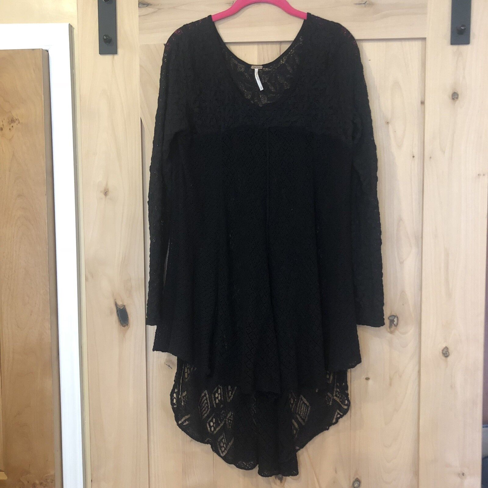 Free People Lace Top Boho Tunic schwarz Baby Doll Dress Thermal Größe Small