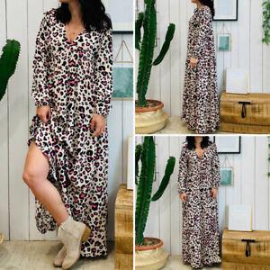 Vintage-Femme-Confortable-Col-V-Imprime-Floral-Manche-Longue-Loose-Robe-Dresse