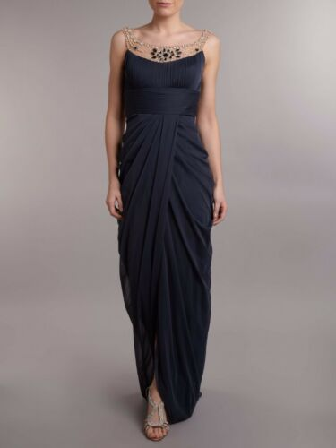 Adrianna Papell Charcoal Gray Jeweled Ornate Neck Embellished Draped Gown NWT