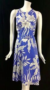 Maggy-London-Women-039-s-Size-14-Blue-White-Floral-Sleeveless-Fit-amp-Flare-Dress-T22