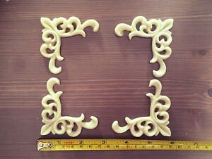 Set of 4 shabby chic furniture corners resin appliques mouldings