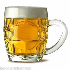 Dimpled-Beer-Tankard-Britannia-Half-Pint-Glass-set-of-6