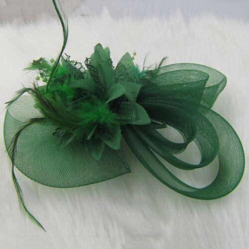 1pc Women Handmade Hair Clip Flower Fascinator Feather Hairpin Party Wedding