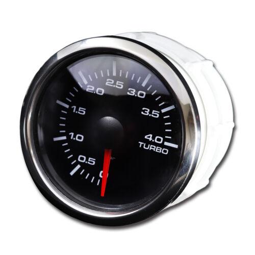 52 mm Waterproof Auto Turbo Boost Gauge Black Plate Chrome Rim LED 4 BAR