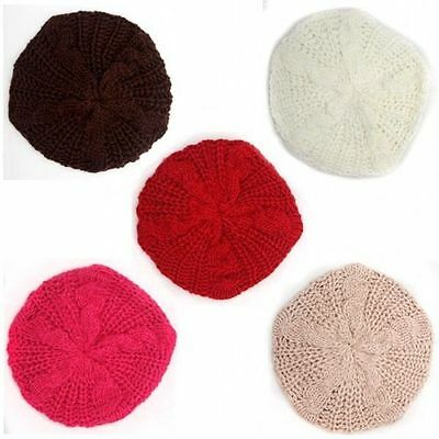 Fashion Colorful Ladies Women Girls Winter Warm Beret Beanie Braided Crochet Hat