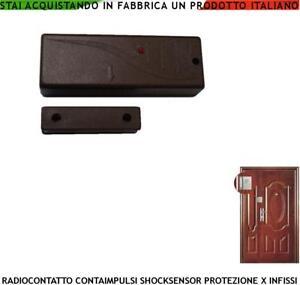 SENSORE-SISMICO-MAGNETICO-RADIO-MARRONE-433-92-MHZ-CODICE-SECUR-LYSA64-ANTIFURTO
