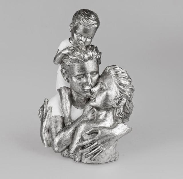 formano Büste Familie weiss-silber 25x35cm kunstvoll gestaltetes Deko-Objekt