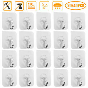 24X Adhesive Kitchen Hooks Heavy Duty Wall Seamless Hook Hangers Transparent US
