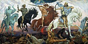Vier-Reiter-der-Apokalypse-Fantasy-Repro-auf-Leinwand-Groesse-waehlbar