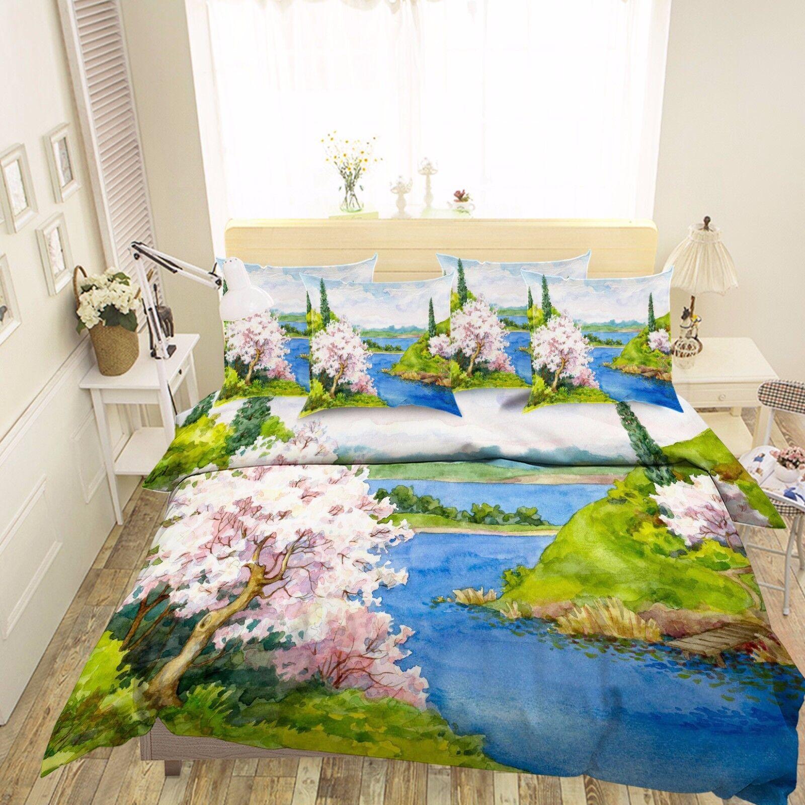 3D Scenic Lake 5 Bed Pillowcases Quilt Duvet Cover Set Single Queen King AU