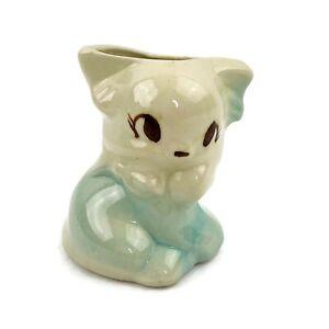 Vtg Ceramic Blue Small Kitty Cat Kitten Planter Mid Century Modern