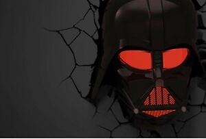 New Darth Vader Helmet 3d Deco Light With Crack Sticker Ebay