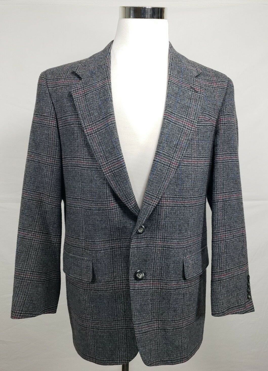 Briar Premier Edition 40R 100% Camel Hair 2 Button Blazer Grey Windowpane Stripe