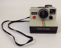 Vintage 1970's Polaroid SX-70 OneStep Rainbow Stripe Land Camera w/ Film Inside