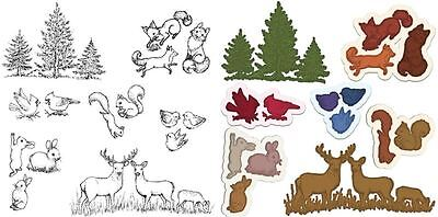 HCD1-7124+HCPC3768 Lot Set Heartfelt Creations Dies+Stamps ~ Woodsy Critters