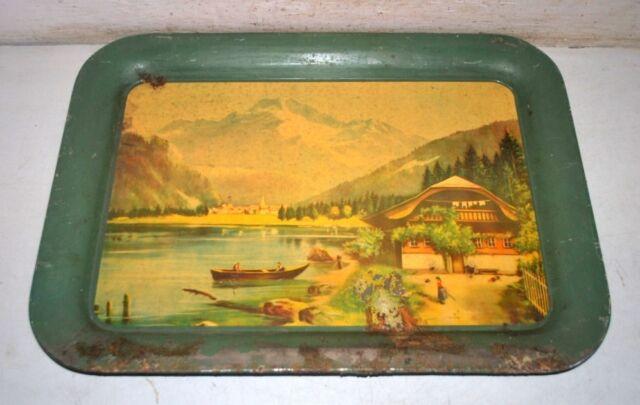 Old Vintage Original Landscape Boat Lake Print Serving Round Tray Platter