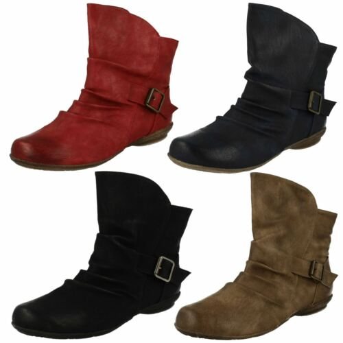 F50337 Ladies Spoton Ankle Boots With Buckle Detail 4 Colours!