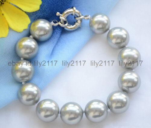 "Genuine 10 mm Silver Gray Round South Sea Shell Pearl Bracelet Bracelets 8/"""