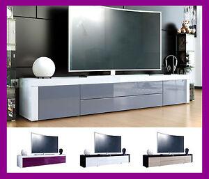 Détails sur Meuble tv laqué table basse télévision salle à manger salon  design blanc noir