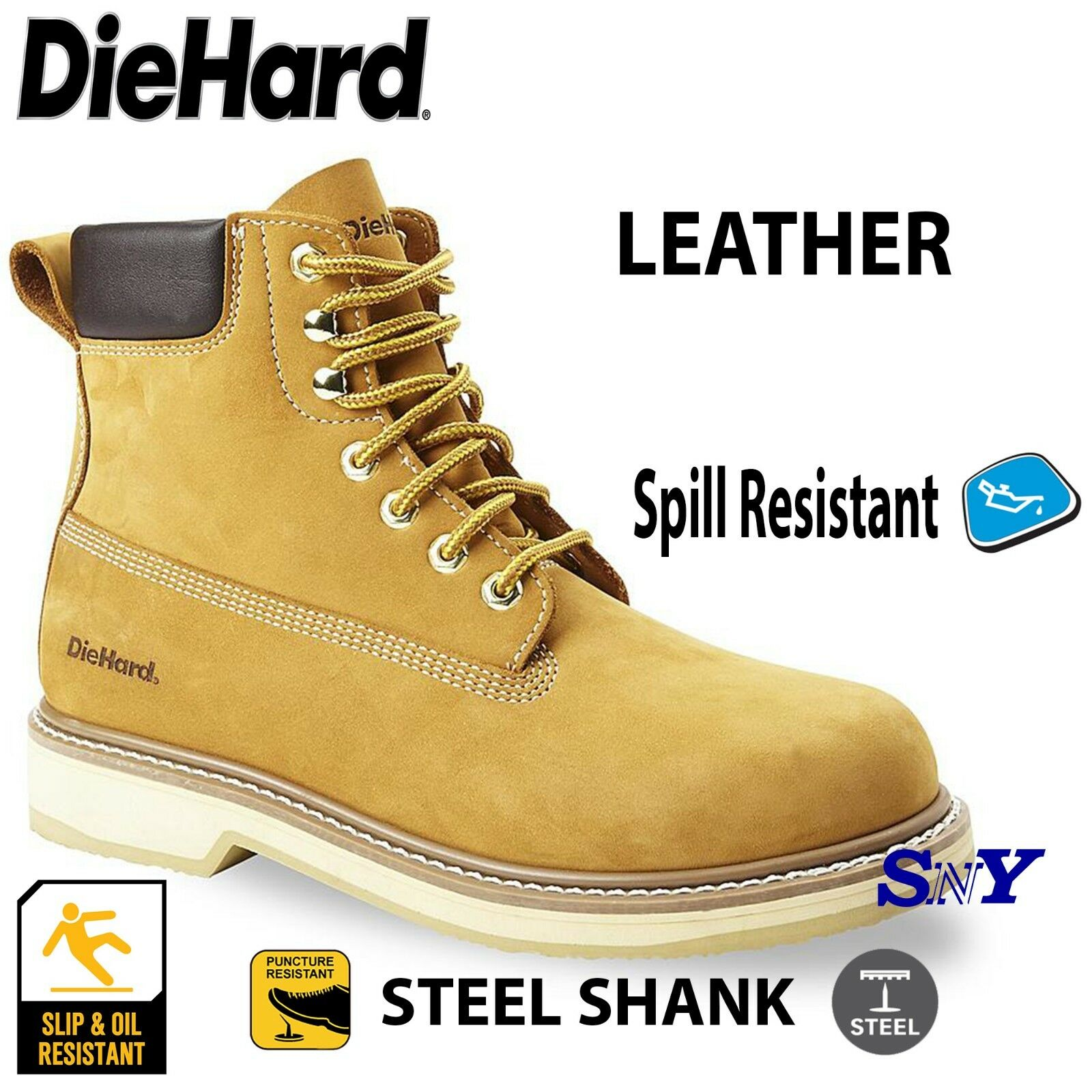 DieHard Soft Toe Mens  6  Work Safety Boots Water & Oil  Slip Resistant DH