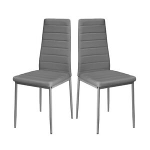 Amazing Details About Dining Room Kitchen Chairs Dining Table Chair Faux Leather Padded Set Of 2 Grey Pabps2019 Chair Design Images Pabps2019Com