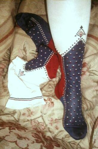 Antique WWI French Silk Stockings Red White Blue F