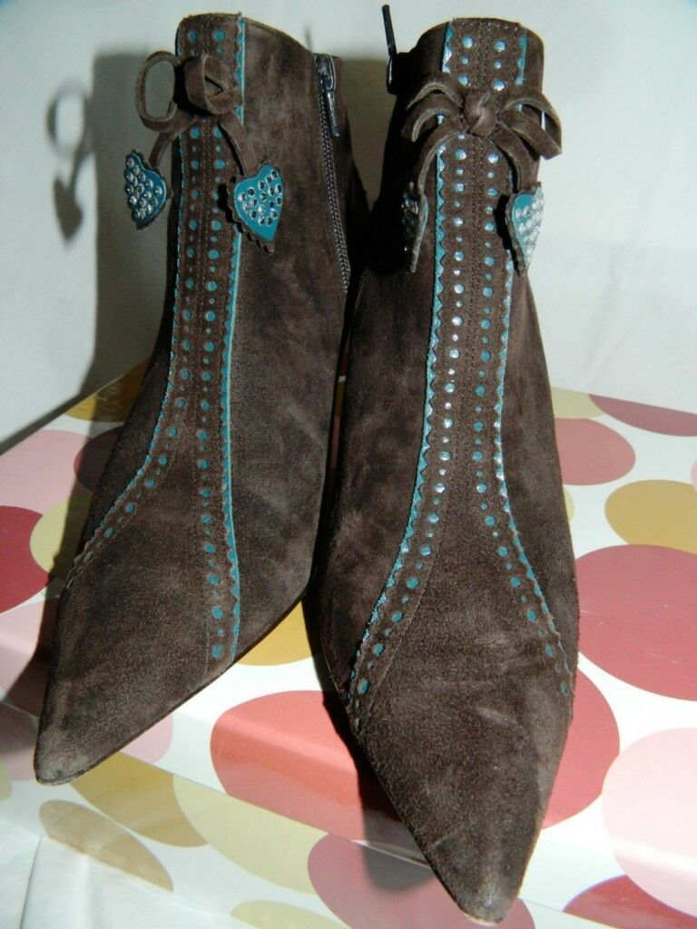 Richard Tyler Brown Suede Ankle Boots with Teal Detail, US Sz. 6 1 2 w box