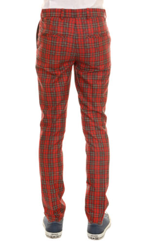 vintage Red Tartan 60's Mod amp; Men's Slim Fly' 'run Classic Trousers New Retro zawvqBTYnW