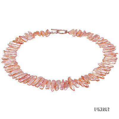 """Classic 6x22mm Pink Stick-shaped Biwa Freshwater Cultured Pearl Necklace 18/"""""""
