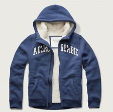 Abercrombie and Fitch Men's sherpa lined warm Hoodie, Blue, Size M