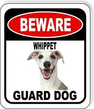 Beware Whippet Guard Dog Metal Aluminum Composite Sign