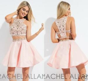 Blush Pink 2 Pieces Short Prom Dresses Satin Bead Homecoming Short