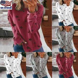 Women-Star-Printed-Sweatshirt-Tops-Ladies-Loose-Pullover-Jumper-T-Shirt-Blouse