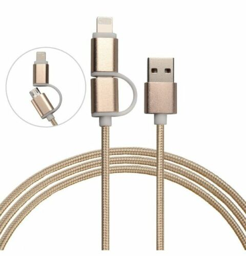 2 in 1 High Speed USB Charging Cable 4 iPhone /& Android-Nylon Braided Durable!