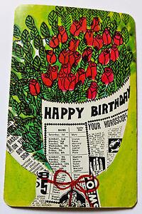 Vintage 1960s Faroy Postcard - Happy Birthday Horoscope Card Red Roses